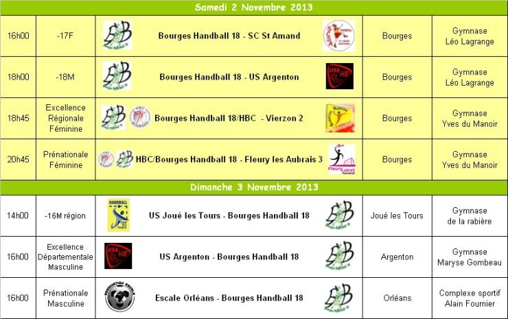 Programme du WE du 02/03 Novembre 2013