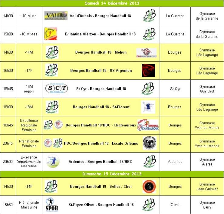 Programme du WE du 14 et 15 Décembre 2013