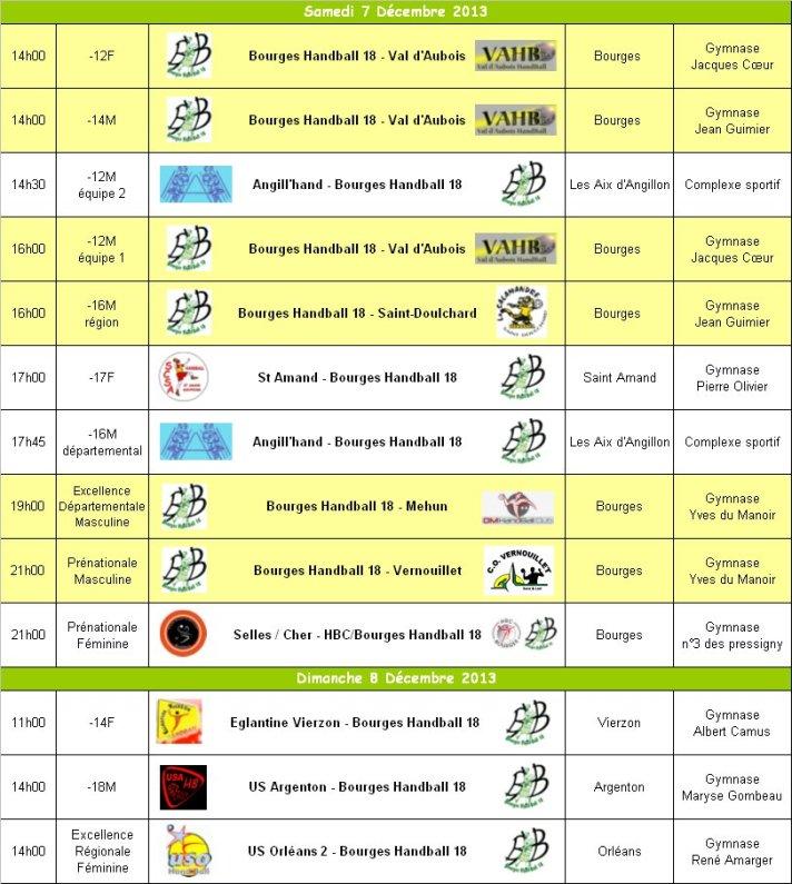 Programme du WE du 7 et 8 Décembre 2013