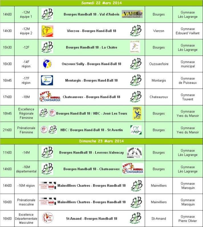 Programme du 22 et 23 Mars 2014
