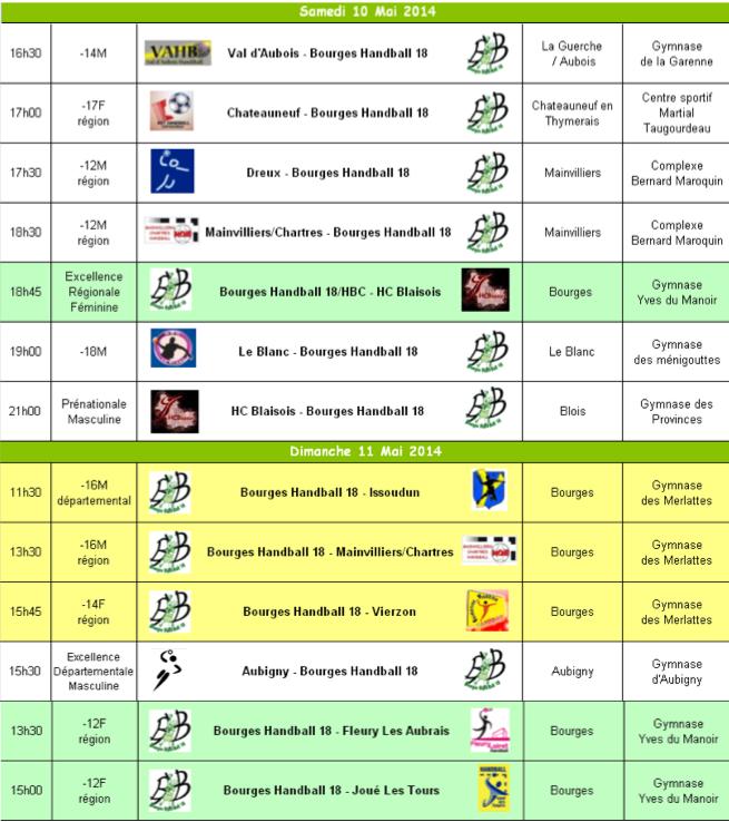 Programme du we du 10 et 11 mai 2014