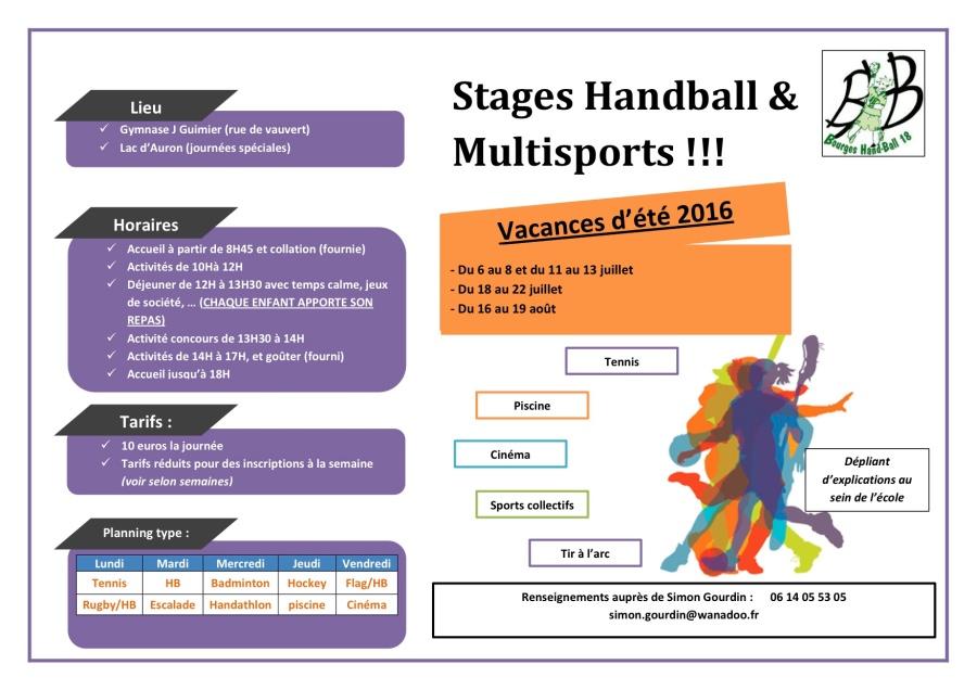 Stages d'été Handball etMultisports