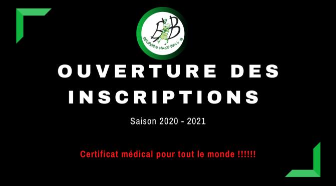 Inscription saison 2020-2021 : Certificat médical pour tout le monde !!!!