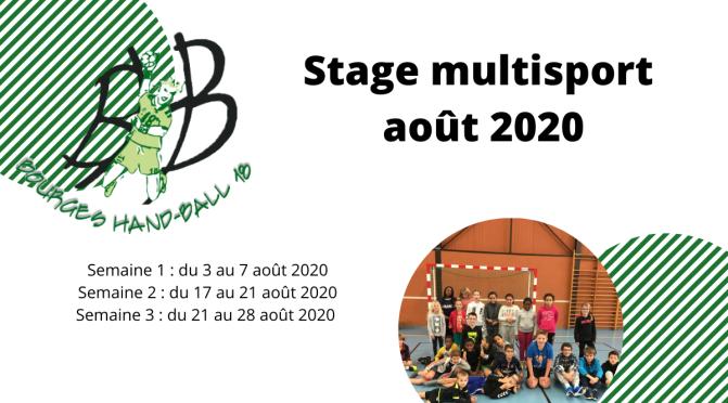 Ouverture des Stages Multisports août 2020